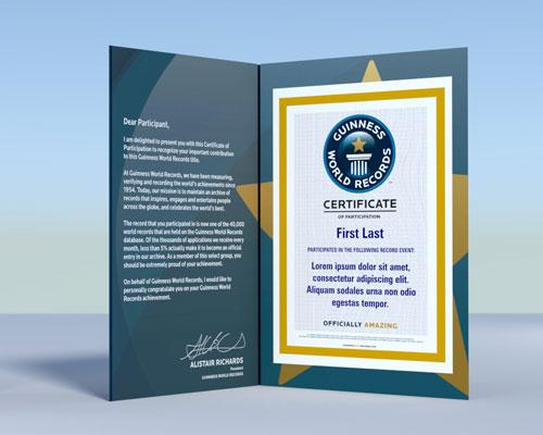 ギネス世界記録TM公式参加認定証